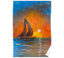 A boat sailing against a vivid colorful sunset  Poster
