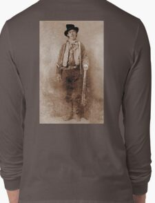 WANTED, Billy the Kid, Henry McCarty, William H. Bonney, Cowboy, American, Outlaw, Wild West Long Sleeve T-Shirt