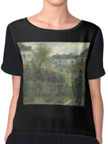 Claude Monet - Monet Painting in his Garden At Argenteuil  Chiffon Top