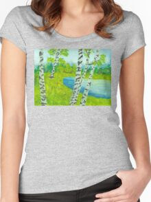 The birch tree forest Women's Fitted Scoop T-Shirt