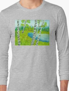 The birch tree forest Long Sleeve T-Shirt