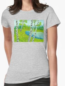 The birch tree forest Womens Fitted T-Shirt