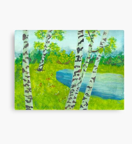The birch tree forest Canvas Print