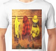 Rain Gear and Red Plaid Jacket Unisex T-Shirt