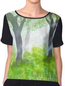 Forest with sunlight.  Chiffon Top