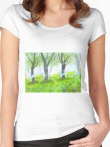 Forest with sunlight.  Women's Fitted Scoop T-Shirt