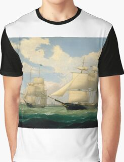 Fitz Henry Lane - The Ships Winged Arrow And Southern Cross In Boston Harbor  Graphic T-Shirt