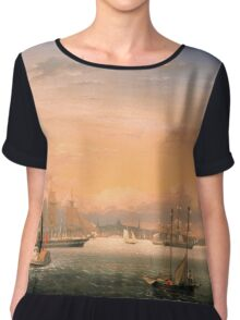 Fitz Henry Lane - Boston Harbor  Chiffon Top