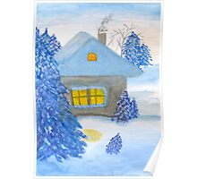 A small cottage in the fairy forest in snow. Poster