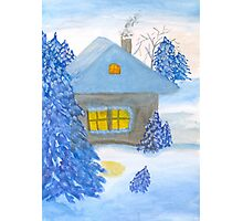 A small cottage in the fairy forest in snow. Photographic Print