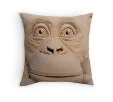 Chimpanzee Sand Sculpture Throw Pillow