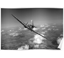 Battle of Britain Spitfire black and white version Poster