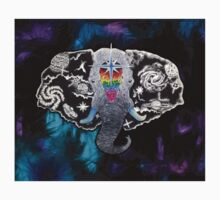 Rainbow Galaxy Elephant Abstract Space Dotwork Surrealism One Piece - Short Sleeve