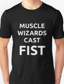 Muscle Wizards Cast FIST - White Text T-Shirt
