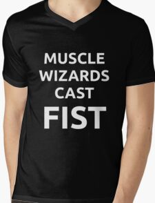 Muscle Wizards Cast FIST - White Text Mens V-Neck T-Shirt