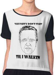 Funny Walken - love black white perfect quote cute fun awesome cool parody Chiffon Top