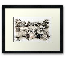 Two Boats Resting - Cornwall Framed Print