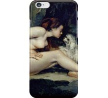 Gustave Courbet - Female Nude With A Dog Portrait Of Leotine Renaude iPhone Case/Skin