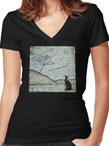 Watership Down Encaustic Women's Fitted V-Neck T-Shirt