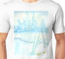 Foggy winter landscape frosty morning Unisex T-Shirt