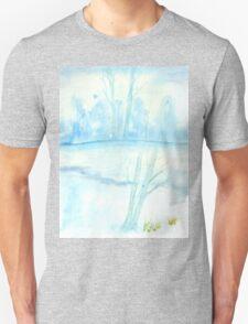 Foggy winter landscape frosty morning Unisex T-Shirt
