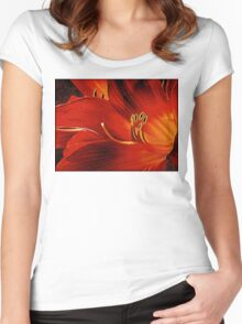 Blood-red Flowers Women's Fitted Scoop T-Shirt