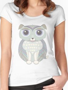 Fluffy Dog Blue Women's Fitted Scoop T-Shirt