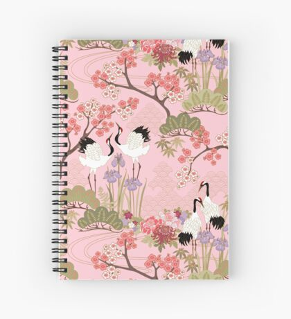 Japanese Garden in Pink Spiral Notebook