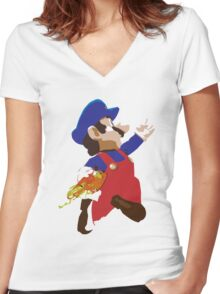 Mario - Super Smash Brothers Women's Fitted V-Neck T-Shirt