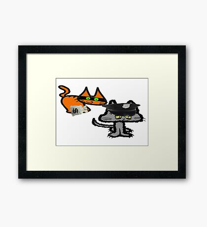 Two Cats Play Cop and Robber Framed Print