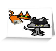 Two Cats Play Cop and Robber Greeting Card