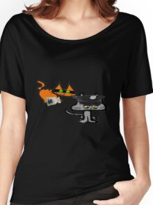 Two Cats Play Cop and Robber Women's Relaxed Fit T-Shirt