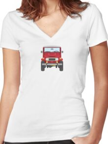 Toyota FJ40 (red) Women's Fitted V-Neck T-Shirt
