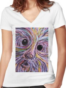Curious Schnauzer Women's Fitted V-Neck T-Shirt