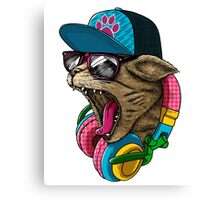 Cool Cat Shirt Youth T Animal Pet Kids Amazing Items Sunglasses Lover Gift Headphones Head Biker Tee Garfield Sublimation Licensed Canvas Print