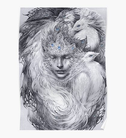 Fairy lady with white peacocks. Poster