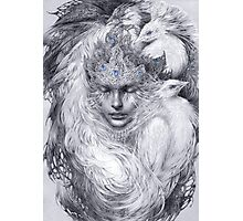 Fairy lady with white peacocks. Photographic Print
