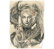 Lady with hawks and amber jewelry Poster