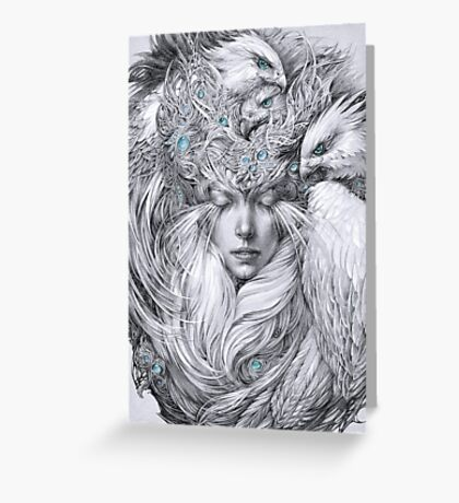 Fairy fairy with white hawks Greeting Card