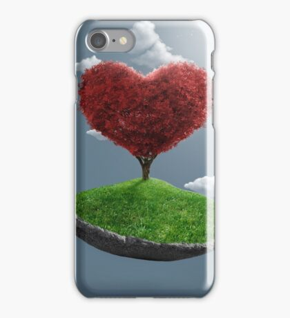 Heart tree on suspended rock iPhone Case/Skin