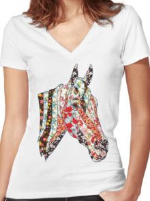 Horse Patchwork cool style  Women's Fitted V-Neck T-Shirt