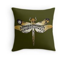Ouija Dragonfly Olive Throw Pillow