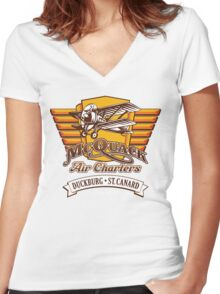 McQuack Air Charters Women's Fitted V-Neck T-Shirt