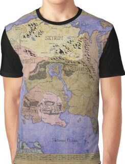 Elders Scrolls map in Ink - COLOR Graphic T-Shirt