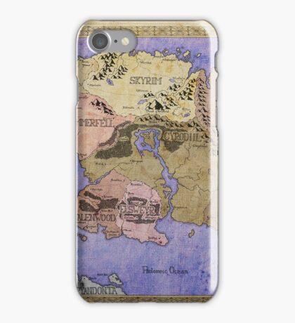 Elders Scrolls map in Ink - COLOR iPhone Case/Skin