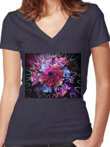 Dreamland flower Women's Fitted V-Neck T-Shirt