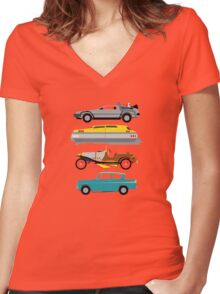 The Car's The Star: Flying Cars Women's Fitted V-Neck T-Shirt