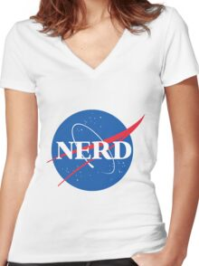 NERD - Nasa Logo Women's Fitted V-Neck T-Shirt