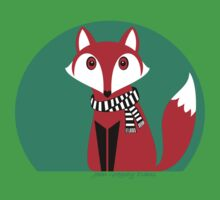 FOX IN BLACK AND WHITE SCARF Baby Tee