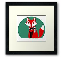 FOX IN BLACK AND WHITE SCARF Framed Print